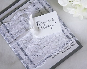 Grey and White Wedding Invitations, Lace Wedding Invitations, Vintage Wedding Invitations, Rustic Wedding Invitations, Rustic Wedding