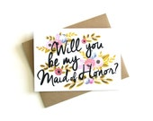 Maid of Honor Card 'Will You Be My Maid of Honor' - Greeting Card, Maid of Honor, Wedding Card, Floral Card, Bridal Party