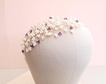 Bella Bridal Side Tiara Ivory Pearl Cluster Headdress Amethyst Purple Wedding Headband Flower Bridesmaid Tiara