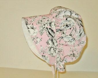Vintage Style Baby Bonnet, Baby Sun Hat, Easter Bonnet, Pink Floral Bonnet, Summer Hat, Newborn Bonnet, Girl Sunbonnet, Cotton Toddler Hat
