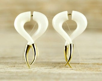 Fake Gauges Earrings Twist Spiral Earrings with Golden Tip  Tribal Style White Bone Organic - FG075 BM G1