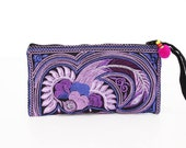 Purple Purse Wristlet Embroidered Handmade Thailand (BG4580CP-PUB)