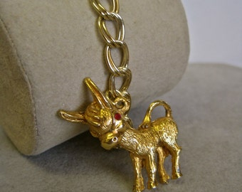 Donkey Charm Bracelet CUTE 50s Mid Century Rockabilly Gold Tone 3D Charm with Red Rhinestone Eyes Double Link Chain