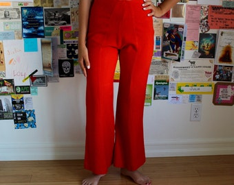 XMAS in JULY SALE : 1970s high waisted orange bell bottoms
