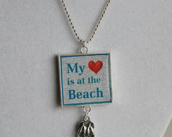 My Heart is at the Beach Square Resin Pendant with Flip Flop Charm