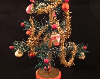 Vintage Doll House Feather Tree with Antique Tinsel, Ornaments and German Wooden Base