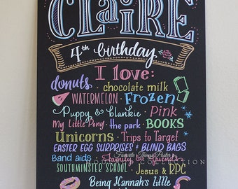 "4th birthday Favorite Things Poster™, 15""x20"" art board, custom ink drawing"