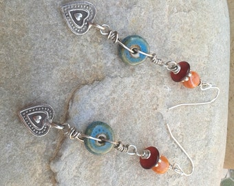 Charming Heart ~ Crab Agate, Horn, Ceramic Turquoise Sterling Silver Dangle Earrings