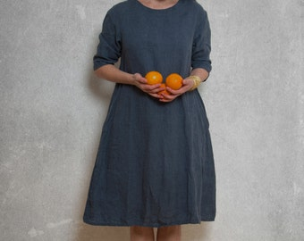 LINEN DRESS/ drop shoulder / custom length