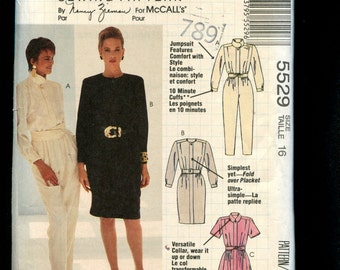 McCalls 5529 Chic Casual Comfort Jumpsuit & Dresses with Pleated Bodices  Size 16 UNCUT