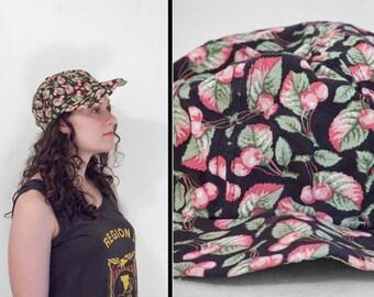 CHERRY Print Hat Black Fruit Pattern 1990s Baseball Style Cap