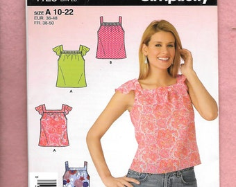 Simplicity 4123 Misses' Summery Tops Easy To Make With Square Neckline, And Optional Fun Capped Sleeves, Sizes 10 to 22, UNCUT
