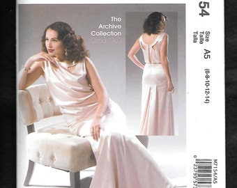 McCall's 7154 Misses' Bias Cut 1930's Dress With A Slight Waterfall Hemline, Sizes 14 To 22, UNCUT/NEW