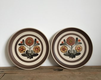 set of two floral Denby Langley Mayflower stoneware plates