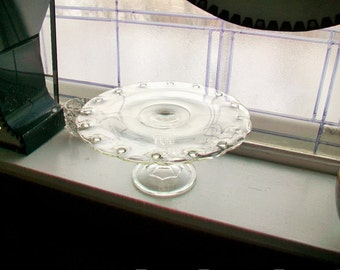 Vintage Glass Cake Stand Teardrop Pattern Dessert Stand
