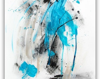 Modern Art Painting Minimalist Abstract Art, Black and blue painting, ORIGINAL abstract painting on 18x24 inch paper
