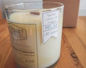 """PEPPERMINT, LAVENDER, and EUCALYPTUS : 8 oz. Aromatherapy """"Relax"""" Candle"""