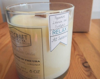 "PEPPERMINT, LAVENDER, and EUCALYPTUS : 8 oz. Aromatherapy ""Relax"" Candle"