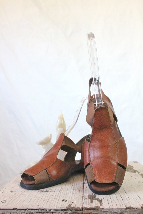Vintage Whiskey Leather Strappy Sandals Sz 8