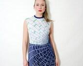 Vintage Geometric Spiderweb Print Mod Dress Navy Blue White and Green A Line Sleeveless Dress