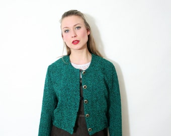 Vintage Black and Emerald Checkered Knit Cropped Blazer Jacket