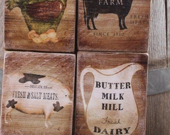 8 x 10 sign set LARGER sized set of 4 Farmhouse kitchen signs wood plaques country kitchen cow chicken milk pig sign Montana made wood signs