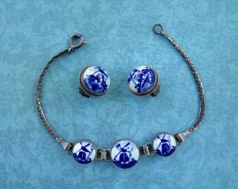 Antique Delft Porcelain and .835 Silver Bracelet and Earrings Set