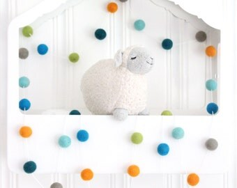 Garland-Oh the Places- Felt ball garland- Pom Pom Garland- Blue Orange Green Aqua Gray- Boy Nursery Decor- Baby Shower Decoration