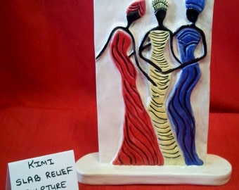 """Ceramic Slab Relief Standing Plaque with 3 Ladies- 10.5""""Tall x 8""""Wide x 2""""Deep- Handcrafted"""