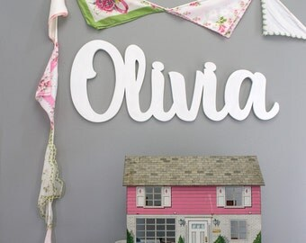 """36"""" Wide Wooden Name Sign Cutout for Kids Bedroom -Large Wooden Name Sign -Custom Baby Shower Gift -Bedroom Wall Decor Word Art"""