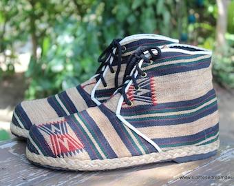 Vegan Men's Boots In Tan Ethnic Naga Tribal Textiles Short Boot - Jacob