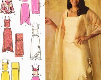 PATTERN Simplicity 4242 Fitted evening bodice strappy tops and flared or mock wrap flounce skirts and wrap Khaliah Ali Size 18W-24W (uncut)