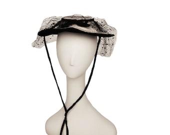 Bonnet Revival Hat by New York Creations, Cream Hat, Black Hat, Vintage 1940s, Cream Melusine, Veil, Netting, Crowley Milner Detroit