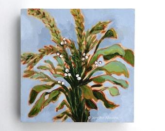 Original botanical painting herbs wall art green garden plants kitchen art - Sage, Rosemary, & Basil