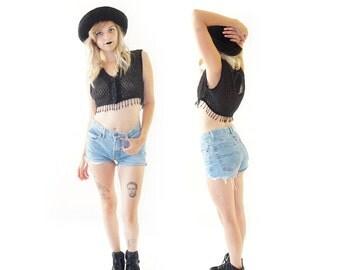 Beaded 80s Black Belly Shirt By JouJou, 80s Bohemian Grunge, Women's Size Small/Medium
