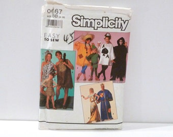 Halloween Costume Simplicity 0667 Never Used Sewing Pattern Caveman Playing Cards Cleopatra Knight Ghoul FF Uncut Unisex Boys Girls Adults