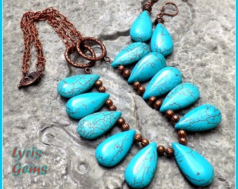 Turquoise Statement Necklace Bib Chunky Necklace with Copper Accents