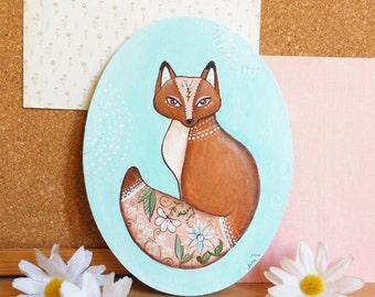 Fox painting , Acrylic paint on canvas board.