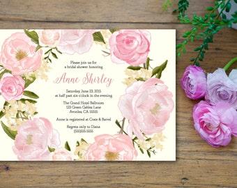 Romantic Elegant Flower Bridal Shower Invitation - customized 5x7 printable - floral wreath print bridal shower invites rose peony whimsical