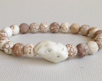 Magnesite Bracelet,Gemstone,Stretch,White Howlite,Stacking Bracelet,Beaded Bracelet