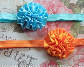Summer Colors Aqua Blue & Tangerine Orange Satin Flower Headband Set