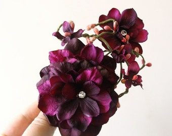 SALE Purple Wedding Hair Flower Bridal Hair Accessories Purple Bridal Hair Clip Rustic Hairpiece Purple Headpiece Hair Vine Pink Rhinestones