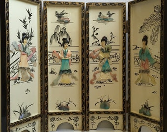 Chinoiserie Tabletop Carved Handpainted Screen