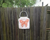 Vintage 1970s embroidered butterfly shoulder purse