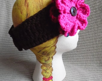 Brown Headband with 2 Interchangeable Flowers, Burgundy & Shocking Pink
