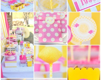 "Personalized Diy Summer ""Sunshine & Lemons"" Pink Lemonade Girls Birthday Digital Printable Party Package"