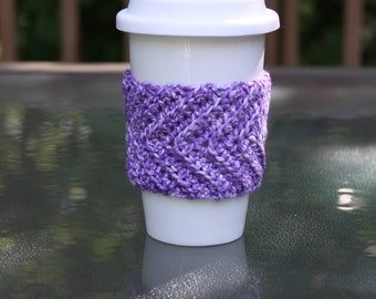 Chevron Cup Cozy in Purple Splash - Ready to Ship