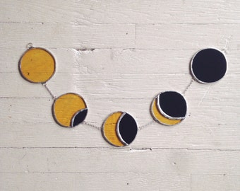 Solar Eclipse Garland - stained glass moon phase - celestial - sun eclipse - glass sun - eco friendly