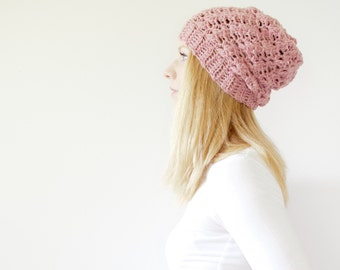 RTS - the SUMTER hat - Slouchy hat beanie crocheted - heather pink - wool