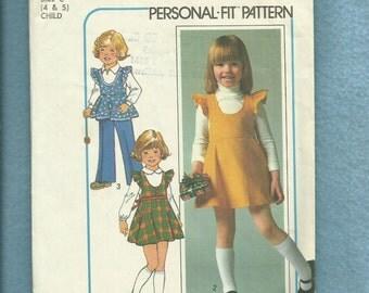 Vintage 1970's Simplicity 7632 Scoop Neck Ruffled Shoulder Jumpers for Little Girls Size 5
